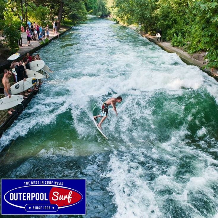 Eisbach, Munich. The most unusual wave on the list is found on an artificial river next to Englischer Garten, Munich's main park. It's completely landlocked. This one meter standing wave (meaning you don't move along the river, but surf in the same spot) is created by water pumped fast against a large rock, forming a crest. #BestSurfingSpot #Eisbach #Munich