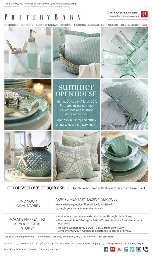 Pottery Barn - Pinterest is spotlighted in the top right-hand corner, and this is another example of how the layout of Pinterest is influencing the design of marketing emails.