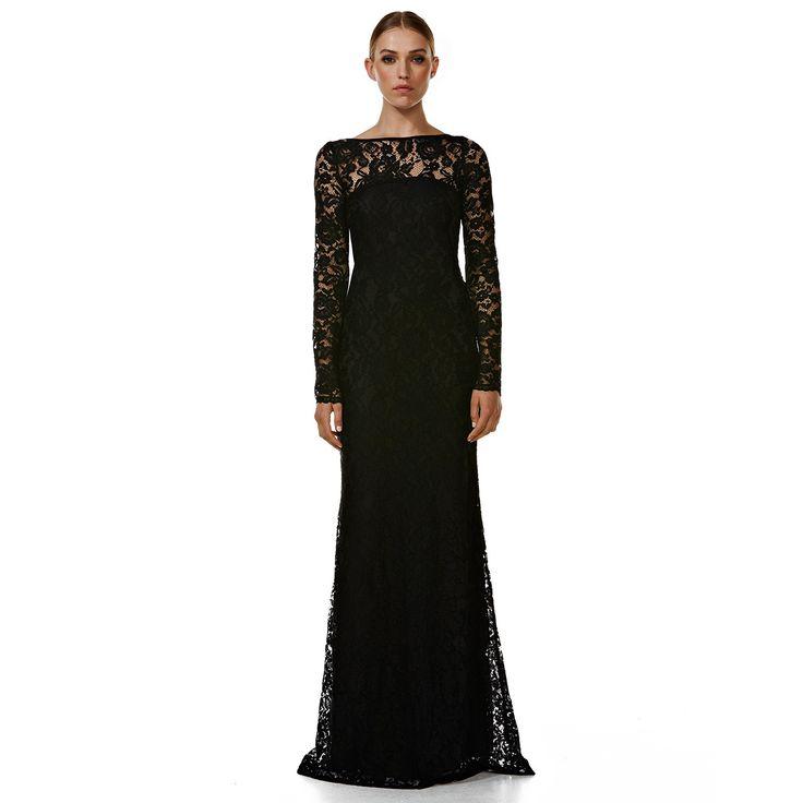 Clare De Lune Black Lace Evening Dress