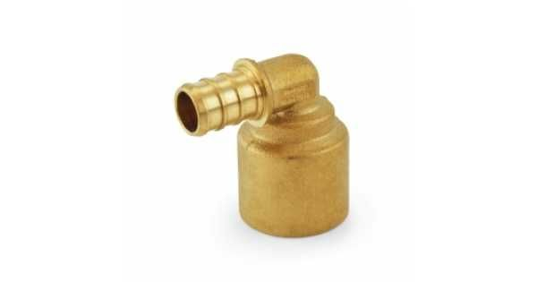 PEX x Copper Pipe Elbow is used to transition between PEX tubing and a copper pipe at a 90-degree angle. When making a connection, always solder the sweat part of the fitting first, cool it off and then connect the PEX side.  This crimp style PEX fitting c