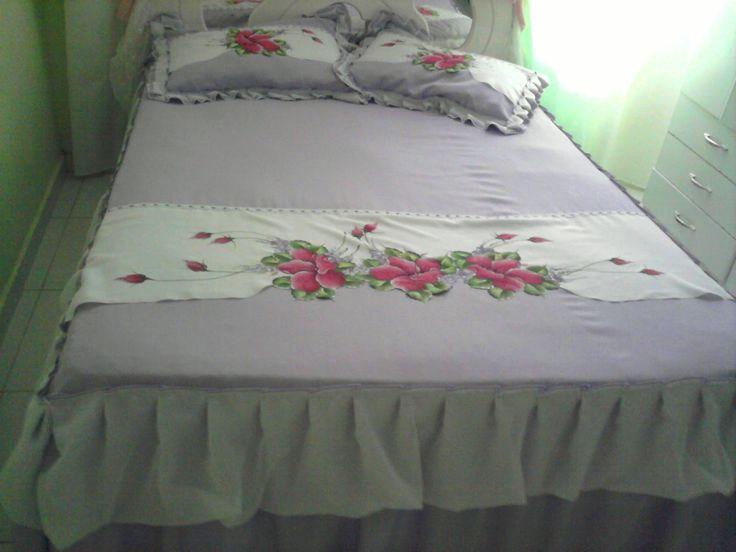 Ateliê As Marias: Colcha de casal lilás com barra pintada