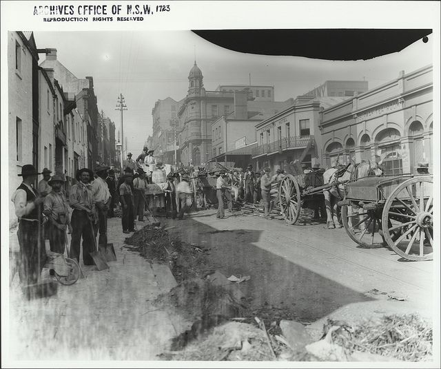 King Street during the plague clean up 4 April 1900 by State Records NSW, via Flickr