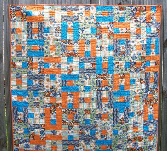 Orange Turquoise Quilt Green Brown Lap Quilt by atthebrightspot, $255.00