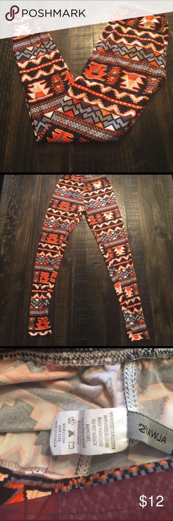 Aztec Print Leggings Super cute Aztec print leggings. NWOT, colorful, comfortable! Pants Leggings