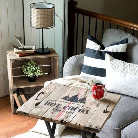 An old, solid wood TV tray was transformed into a rustic coffee themed beauty, PLUS a pallet wood Christmas topper! Made with stencils.
