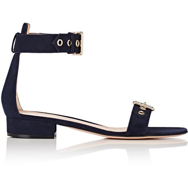 Gianvito Rossi Women's Embellished Suede Ankle-Strap Sandals (€750) ❤ liked on Polyvore featuring shoes, sandals, navy, leather sole sandals, small heel sandals, leather sole shoes, navy blue low heel shoes and buckle shoes