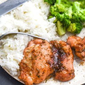 Sweet baked boneless chicken thighs recipe cooks up in less than 30 minutes! A chicken recipe that is loaded with flavor like sweetness, salty, and garlic!