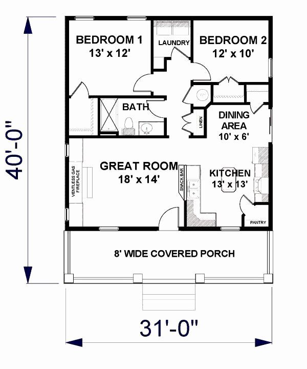 2 Bedroom Cottage House Plans Fresh Cottage House Plan With 2 Bedrooms And 1 5 Baths Plan 3147 In 2020 One Bedroom House Plans House Plans Basement House Plans