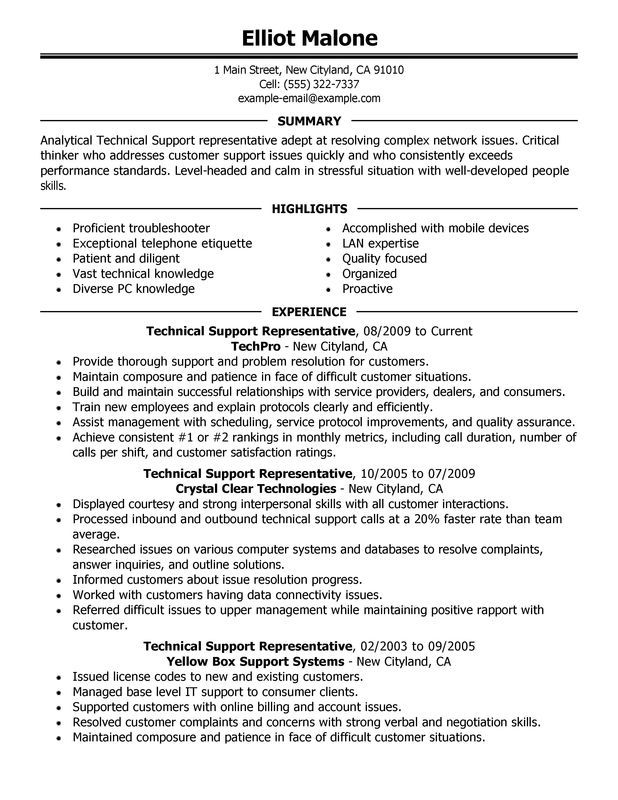 Technical Support Resume Sample Resume examples, Resume