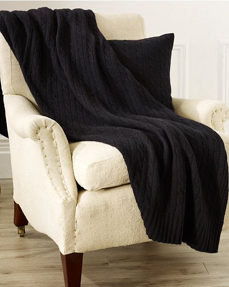 Cabled Cashmere Throw Blanket