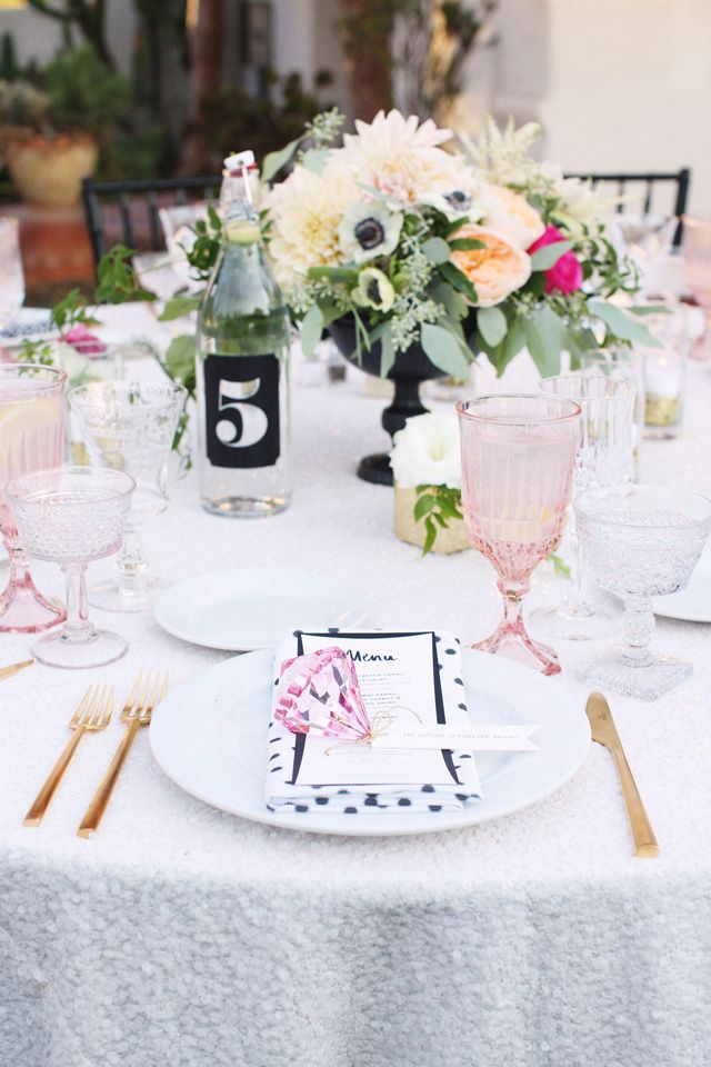 Table Numbers with water bottles (could get at ikea)