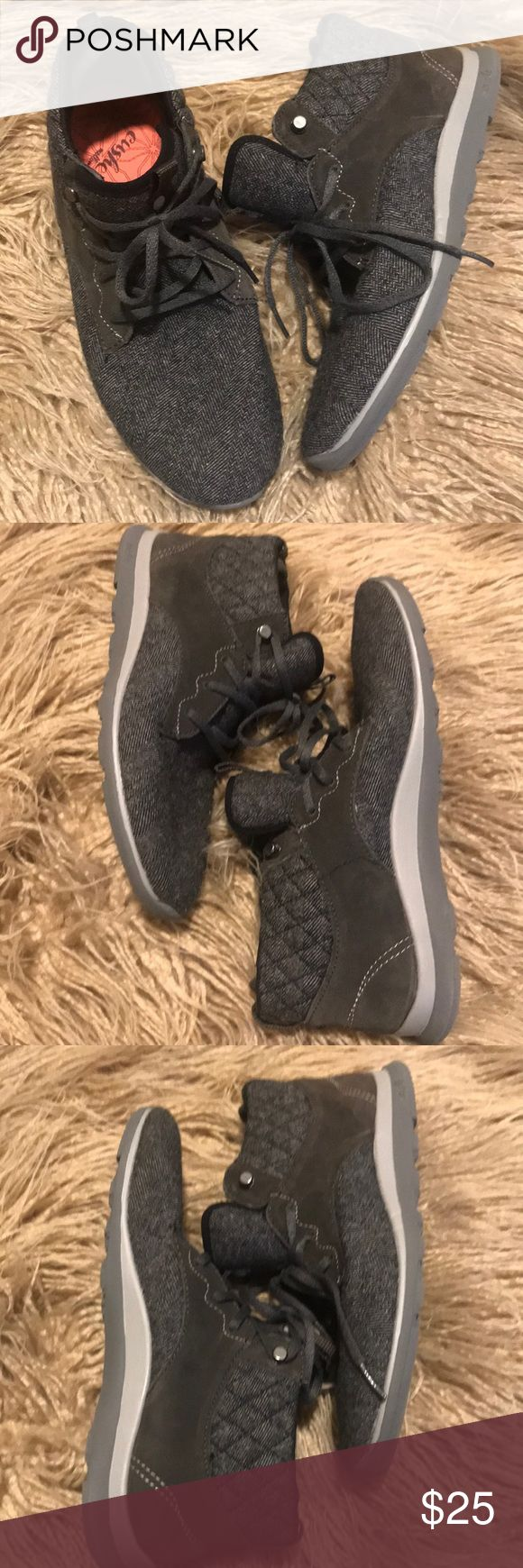 Cushe Herringbone Tennis Shoes (Brand new) Size 8. These have never been worn. Cushe shoes have been discontinued, and these are literally the comfiest shoes ever. EXTREMELY light weight. This print matches everything! Dark gray in color. Cushe Shoes Sneakers