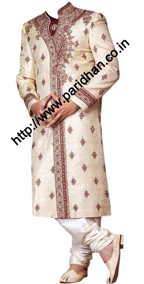 This type of embroidery for Dave with more crystal work.  Stylish fashionable embroidered designer sherwani made from cream color dupion fabric. Hand embroidered as shown. It has bottom as chudidar made from dupion fabric in matching color. Dryclean only.