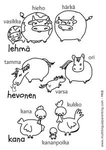 Animals Parents and Babies in Finnish- multilingual printables
