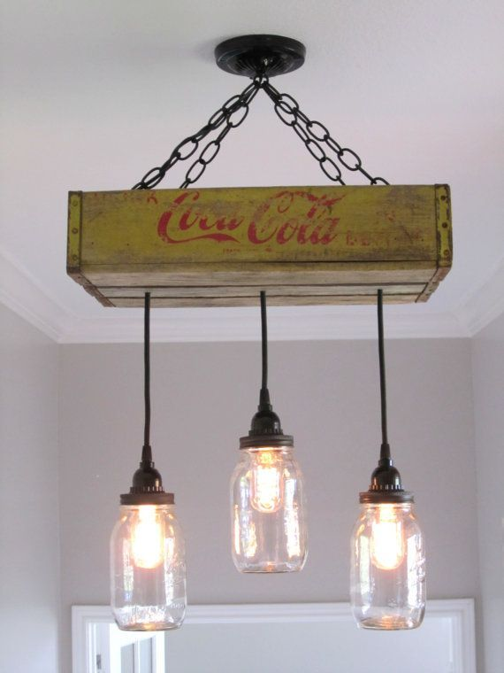 Coca Cola Ceiling Light With Mason Jars By Outofthewdworkdesign 185 00 Everything Diy In 2019 Chandelier Lights Jar Lighting
