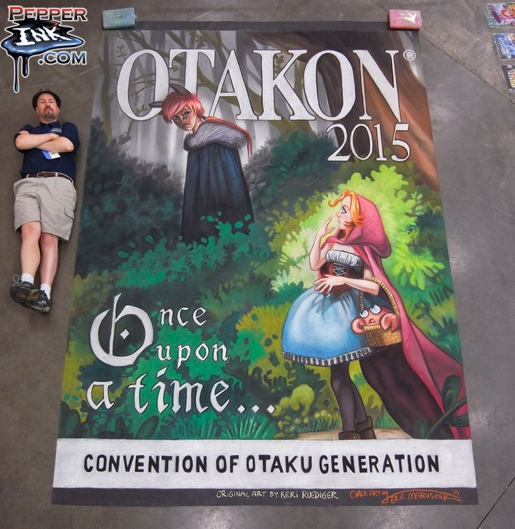 http://www.pepperink.com - Artist Eric Maruscak creates a 9' wide by 12' tall chalk mural at Otakon 2015 in Baltimore Maryland. The art took 28 hours to complete over three days. Original illustration by Keri Ruediger.
