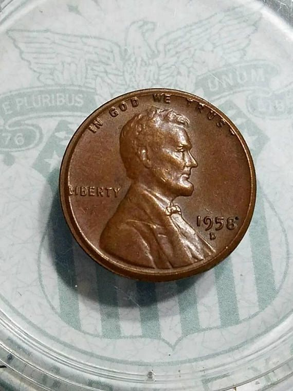 1958 d wheat ERROR penny   More than 15% off center mint