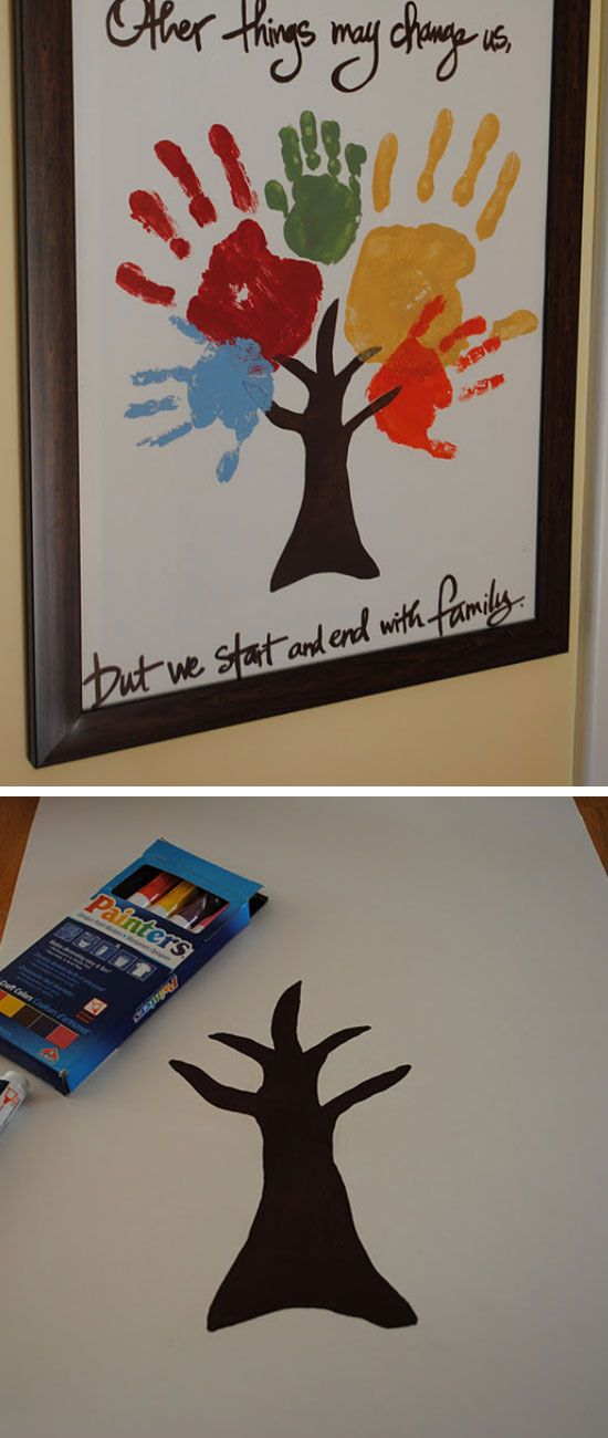 Family Handprint Tree | Click Pic for 22 DIY Fathers Day Gift Ideas from Kids to Dad | DIY Gift Ideas for Him
