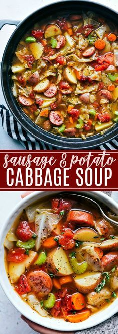 A thick and hearty sausage, potato, and cabbage soup; a healthy recipe that is packed with flavorful ingredients! chelseasmessyapron.com (veganize)