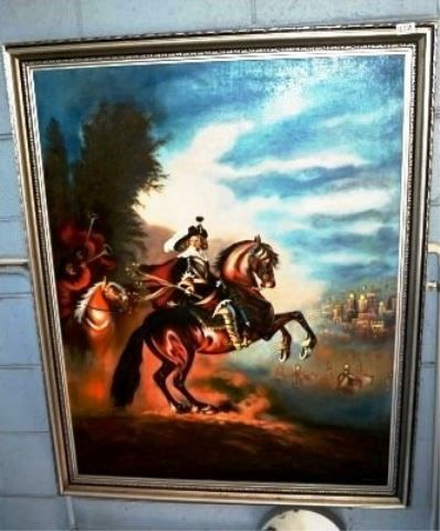Bargain hunt Auctions - on 21-2-15 - Lot 1231(a) - Vintage Oil Painting of a Man on Horse, signed KAMKAY - ($40 - $60)