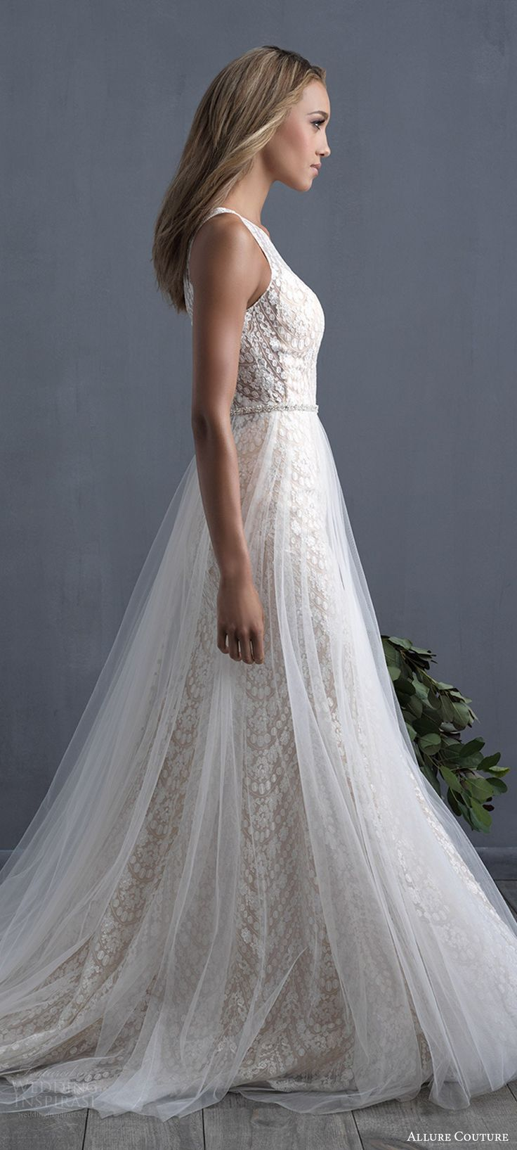 2018 Wedding Dress Trends To Love – Part 1: allure couture 2018 bridal trends sleeveless jewel neck lace a line wedding dress tulle overskirt  #weddingdress; #bridalgown