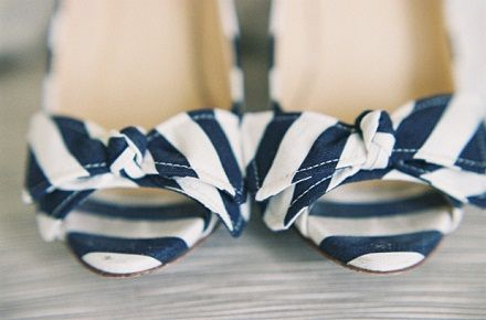 Striped shoes - perfect for a nautical themed wedding.