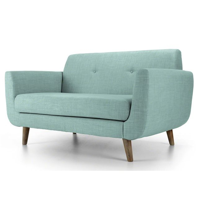 two seater retro sofa in pale blue. Black Bedroom Furniture Sets. Home Design Ideas