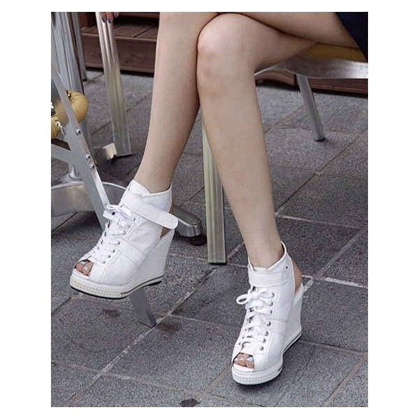 Fashion Sneaker Style Fish Mouth Wedges White ❤ liked on Polyvore featuring shoes, sneakers, wedge sole shoes, white wedge heel sneakers, white wedge sneakers, fish shoes and wedge heel sneakers