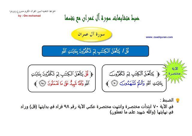 ضبط متشابهات سورة آل عمران بالخرائط الذهنية الجزء الأول Ios Messenger Surat