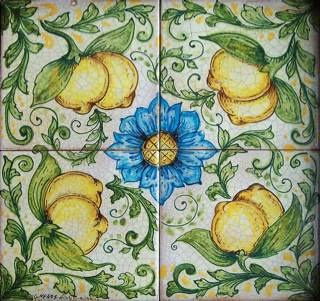 """Lemons 1"" hand painted tile panel by Ghenos. I love this for an outdoor tabletop , serving tray or TV tray top."