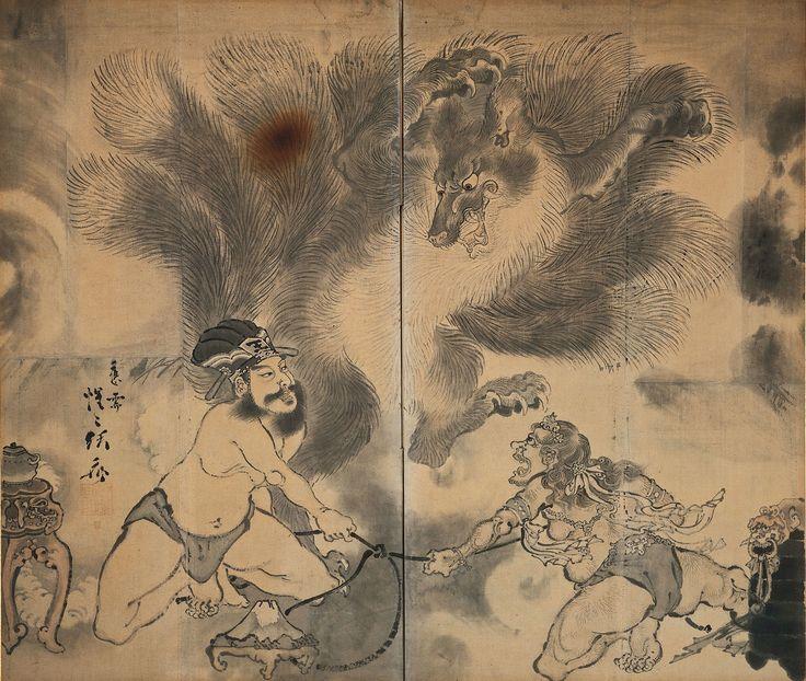 河鍋暁斎 《九尾の狐図屏風》 明治3(1870)年以前 河鍋暁斎記念美術館蔵