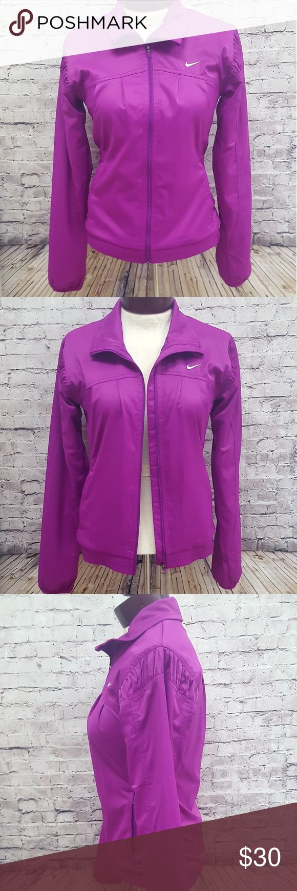 NIKE DRI FIT PURPLE FULL PLEATED  ZIP JACKET S Nike Dri-Fit Womens Purple Full Zip Up Jacket. Nice Rouching Pleated Shoulders. 2 front side zip pockets. Fully lined. Excellent condition (no rips, stains, or holes).  Size Small Material: 93% Polyester 7% Spandex  FAST SHIPPING!! Please review pictures prior to purchase. Feel free to reach out with any questions. Thank you. Nike Jackets & Coats