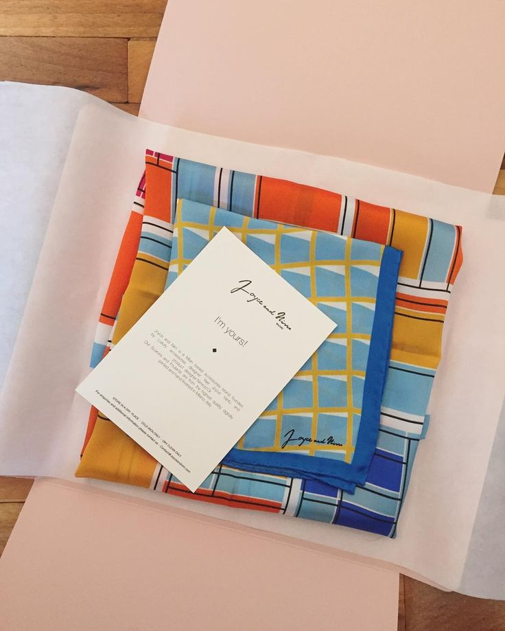 Silk scarf packaging design, Designed and Produced in Milano, Italy. By Joyce and Nim
