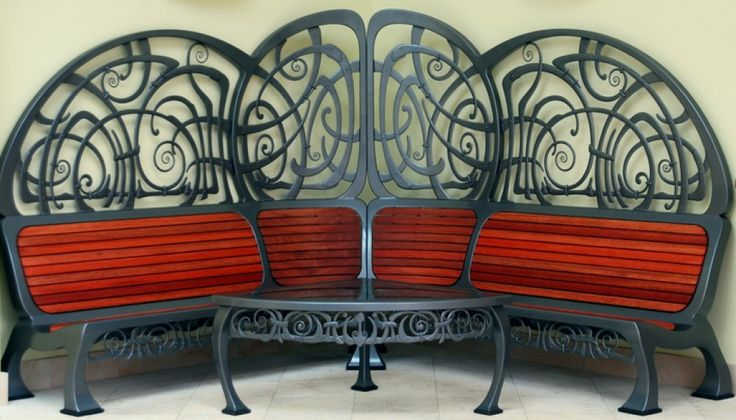A unique corner bench and table made for the interior of a property. Design and made by West Country Blacksmiths - www,westcountryblacksmiths.co.uk
