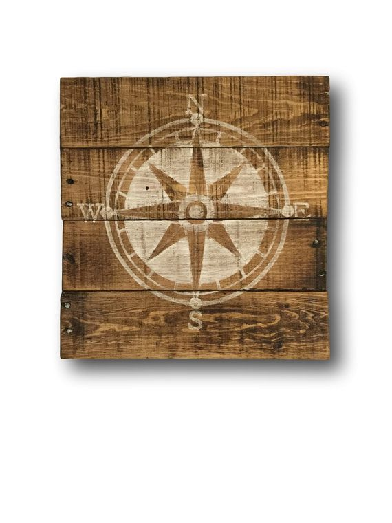 Wood wall hanging, hand painted on reclaimed wood. This rustic compass sign works perfectly for a nautical themed nursery. Also a lovely addition