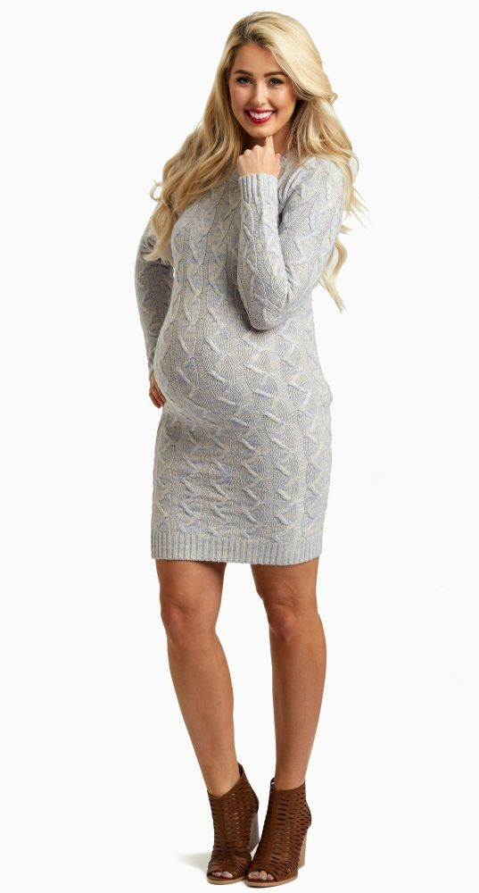 This fitted cable knit maternity sweater dress is perfect for those cold days ahead. You can wear this by itself or with maternity leggings and boots for a complete look.