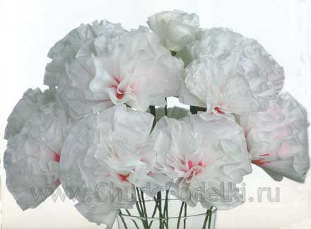 Как сделать цветок из салфетки. Гвоздика. Мастер класс. Цветы из салфеток своими руками гвоздики