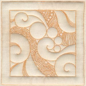 Ocean Waves Square. This is embroidered but possible to free motion quilted.