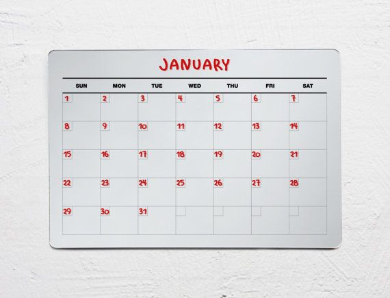 Acrylic Dry Erase Calendar  Wall Calendar  Fridge by BeyondAcrylic