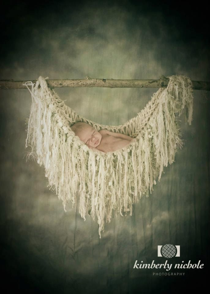 Newborn Photography Props Fringe Hammock and Baby Blanket. Ivory, Off White, Cream, Pale Green, Light Green 'Wisteria'. $95.00, via Etsy.