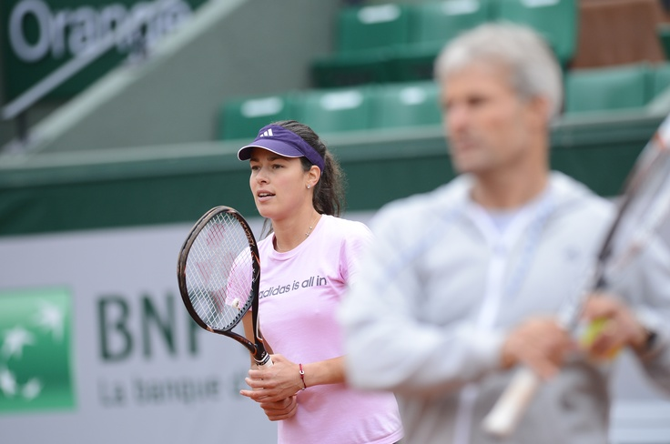 Ana Ivanovic at Philippe Chatrier practicing in preparation for the French Open