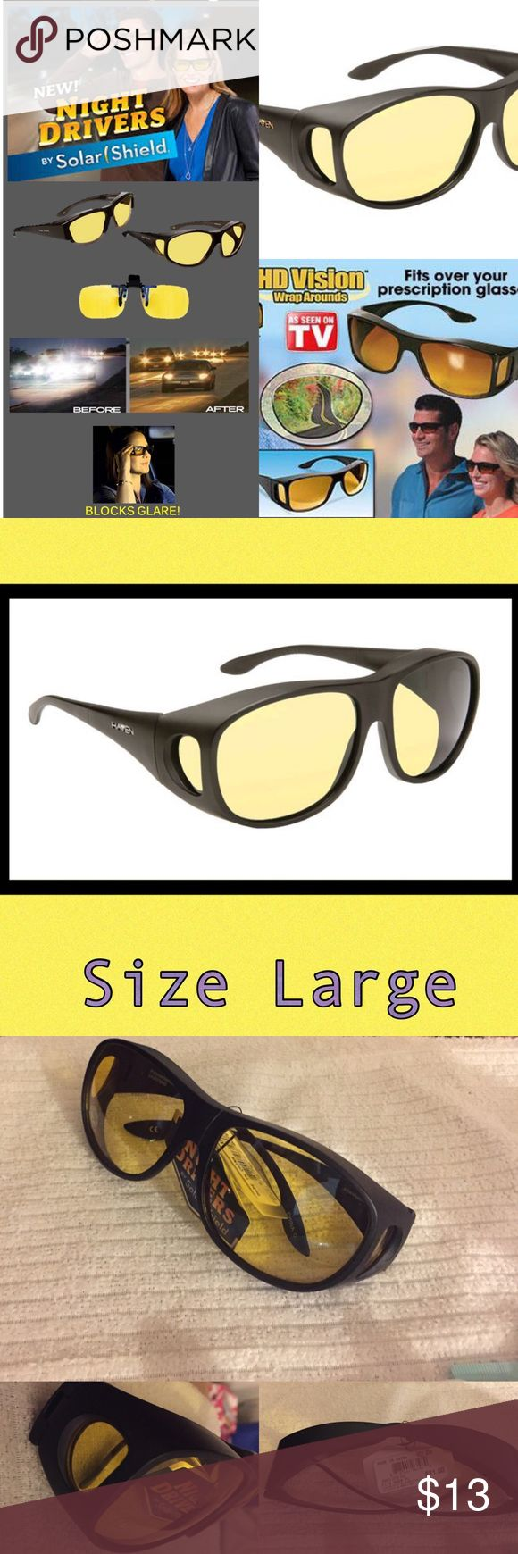 HD Night Drivers Anti Glare Wrap Around Glasses HD Night Vision Wraparounds fit over your glasses to reduce night time glare and eye strain. Improves Color, Clarity and Definition size Large Solar Shield Accessories Sunglasses