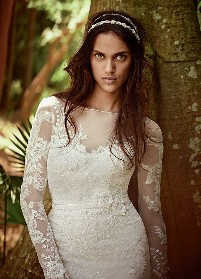 Melissa Sweet for David's Bridal  Fall 2015 -- love the sheer lace sleeves!