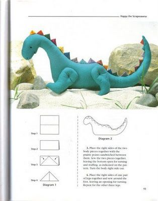 Dinossauro de tecido com molde - patchwork