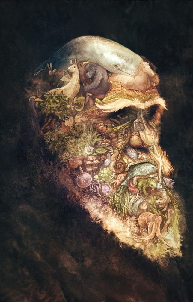 Portrait of Charles Darwin, by David Revoy.  ARCIMBOLDO's Style. YB