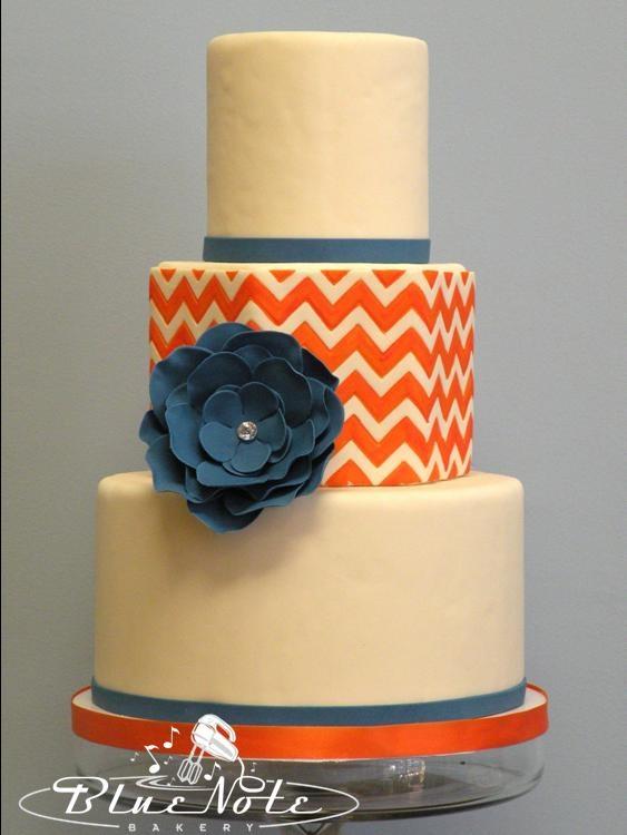 Orange & Blue Chevron Wedding Cake by Blue Note Bakery