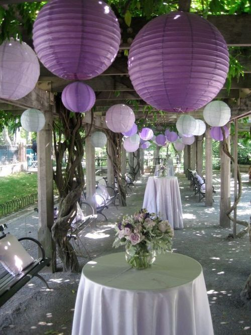 24 Paper Lanterns White Purple Lavender  Wedding by sisters520, $70.00