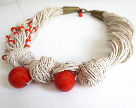 Orange Big And Small Round Organic Linen Necklace by ReTeTeer