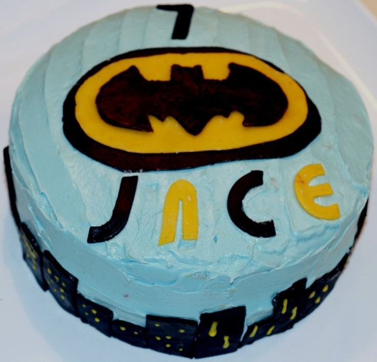 Batman cake. Marzipan on traditional frosting.