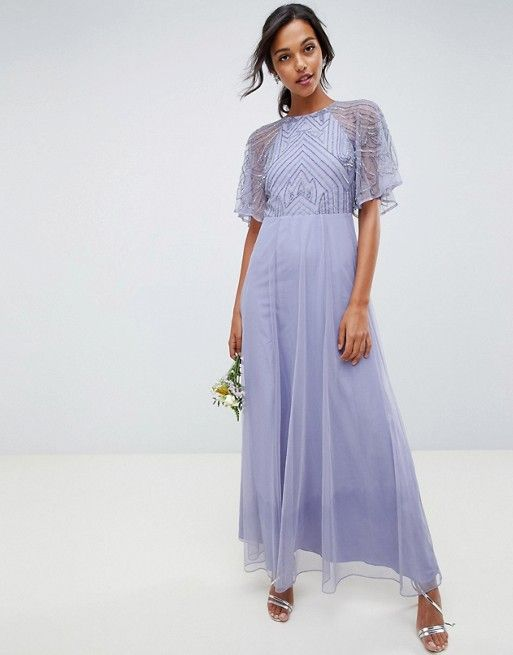 8a34f59d6fb3cb DESIGN delicate embellished angel sleeve maxi dress in 2019 | Dresses |  Maxi dress with sleeves, Strappy maxi dress, Asos bridesmaid dress